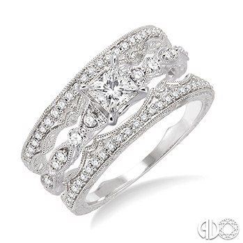 Three Ring Bridal - Diamond Engagement Ring and Two Wedding Bands ... a345bf72b0