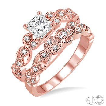 Rose Gold Princess Cut Engagement Ring and Wedding Band Bridal Set ... d623e1dd1