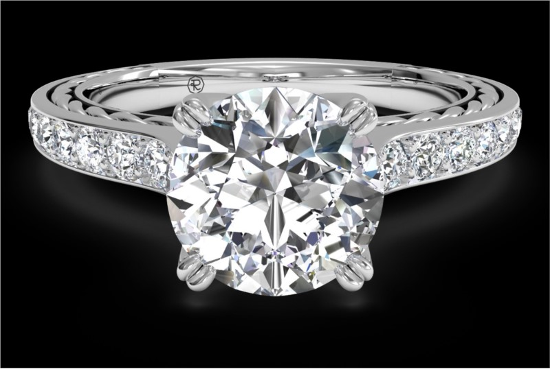 RITANI Solitaire Micropave Braided Diamond Engagement Ring in White Gold by Ritani