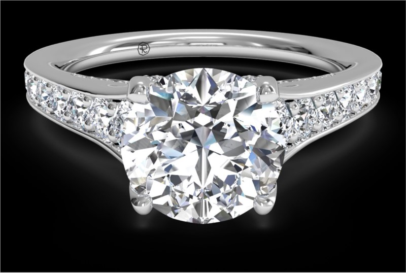 RITANI Tapered Pave Diamond Engagement Ring in White Gold by Ritani