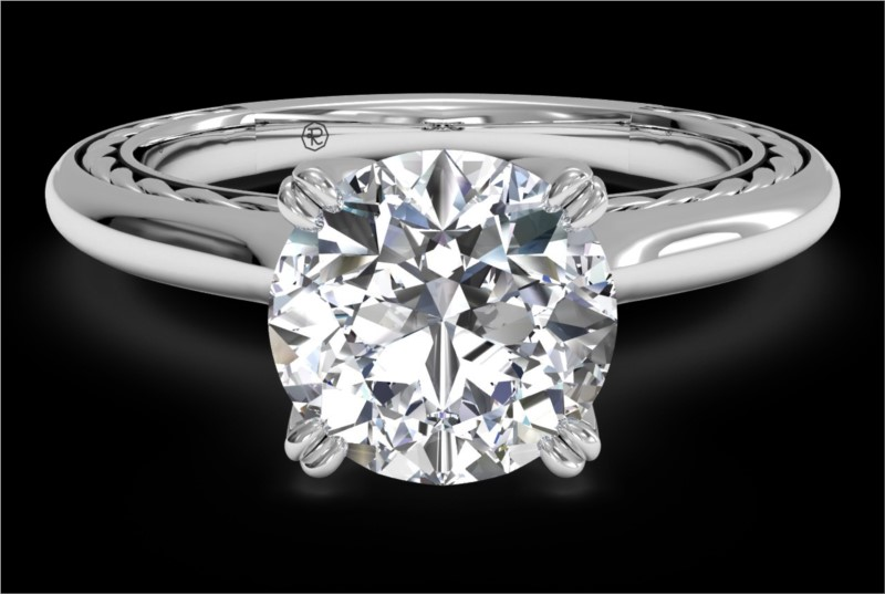 RITANI Solitaire Diamond Braided Engagement Ring in White Gold by Ritani