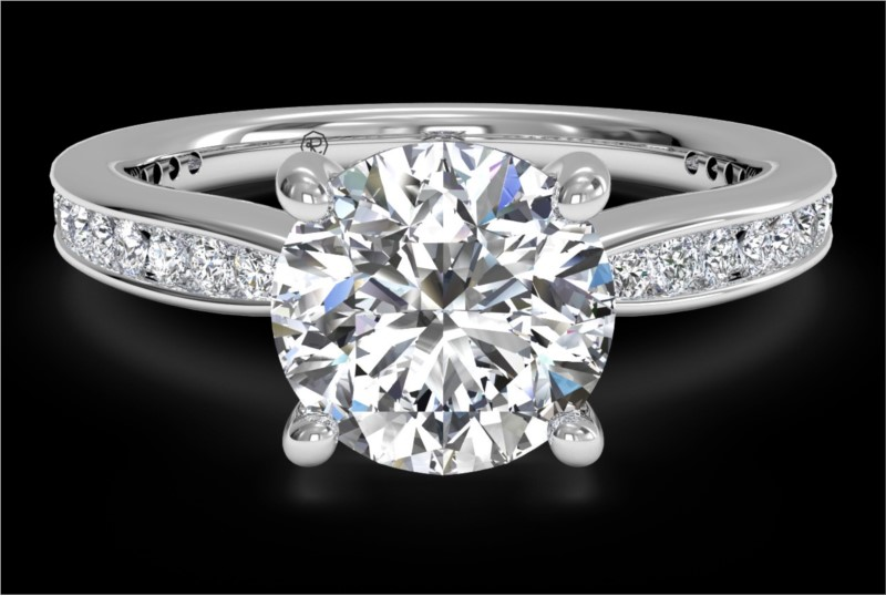 RITANI Tapered Channel-Set Diamond Engagement Ring in White Gold by Ritani