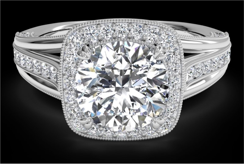 RITANI Masterwork Cushion Halo Vaulted Milgrain Diamond Engagement Ring with Surprise Diamonds in White Gold by Ritani