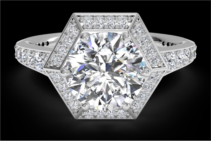 RITANI Vintage Hexagonal Halo Vaulted Diamond Engagement Ring in White Gold by Ritani