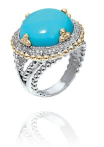 silver Ladies color stone rings by Vahan