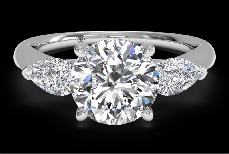 RITANI Three-Stone Diamond Engagement Ring with Pear-Shaped Side Diamonds in White Gold by Ritani
