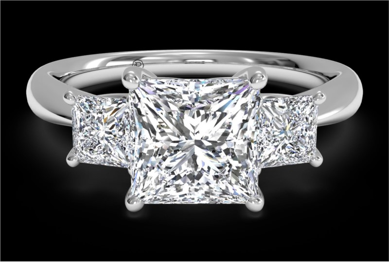 RITANI Three-Stone Diamond Engagement Ring with Princess-Cut Side Diamonds in White Gold by Ritani