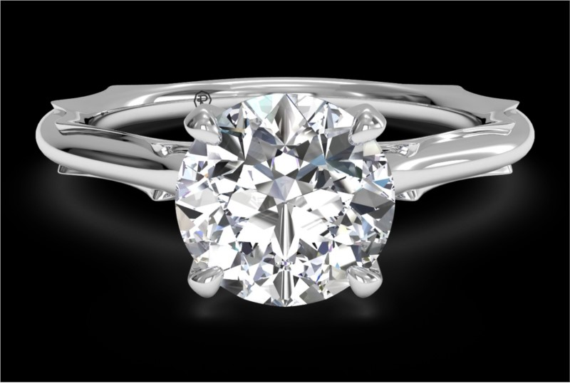 RITANI Solitaire Diamond Modern French-Set Engagement Ring in White Gold by Ritani